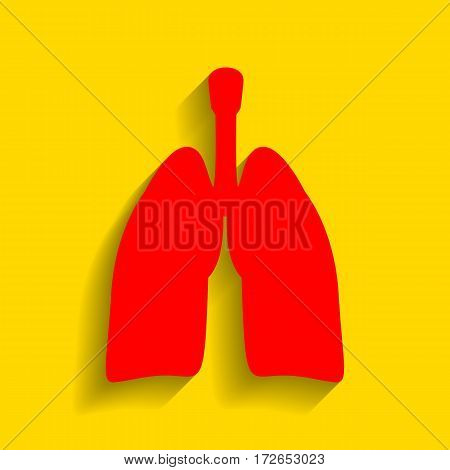 Human organs Lungs sign. Vector. Red icon with soft shadow on golden background.