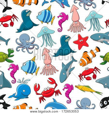 Fishes and ocean and sea animals vector seamless pattern of seal and clown fish or flounder, dolphin, whale and shark, starfish and seahorse, stingray and turtle, crab and octopus, squid and jellyfish