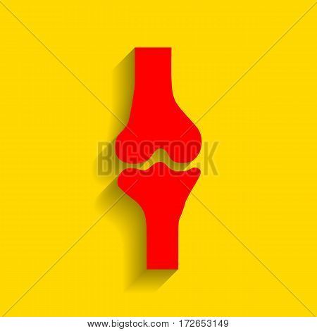 Knee joint sign. Vector. Red icon with soft shadow on golden background.