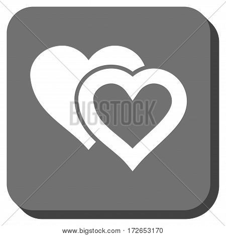 Love Hearts rounded button. Vector pictograph style is a flat symbol on a rounded square button white and gray colors.