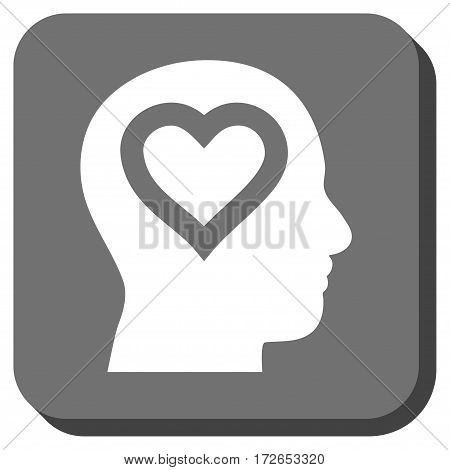 Love In Head interface toolbar icon. Vector pictogram style is a flat symbol inside a rounded square button white and gray colors.