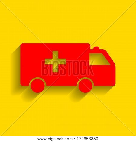Ambulance sign illustration. Vector. Red icon with soft shadow on golden background.