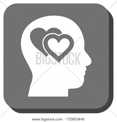 Love In Mind toolbar button. Vector pictograph style is a flat symbol on a rounded square button white and gray colors.