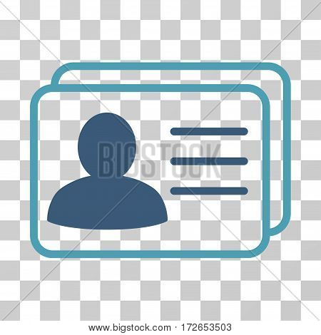 Account Cards icon. Vector illustration style is flat iconic bicolor symbol cyan and blue colors transparent background. Designed for web and software interfaces.