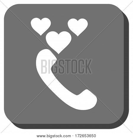 Love Phone Call rounded button. Vector pictogram style is a flat symbol inside a rounded square button white and gray colors.