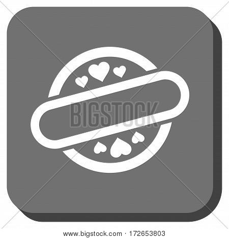 Love Stamp Seal rounded icon. Vector pictogram style is a flat symbol on a rounded square button white and gray colors.