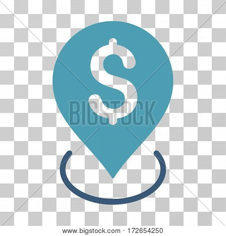 Bank Placement icon. Vector illustration style is flat iconic bicolor symbol cyan and blue colors transparent background. Designed for web and software interfaces.