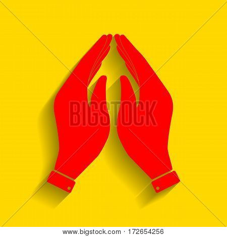 Hand icon illustration. Prayer symbol. Vector. Red icon with soft shadow on golden background.