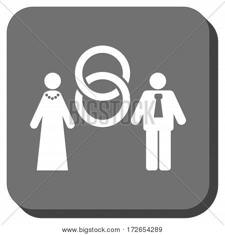 Marriage Persons interface icon. Vector pictograph style is a flat symbol centered in a rounded square button white and gray colors.