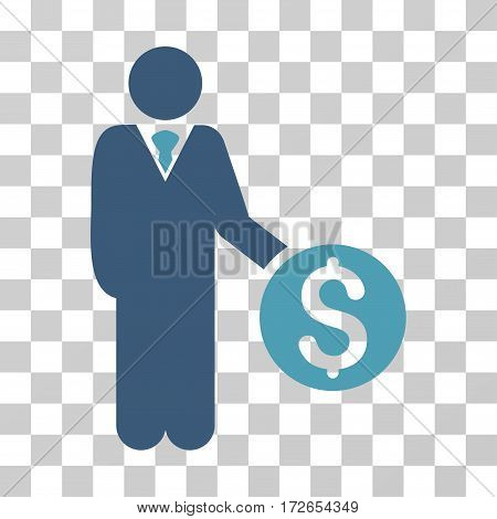 Banker icon. Vector illustration style is flat iconic bicolor symbol cyan and blue colors transparent background. Designed for web and software interfaces.