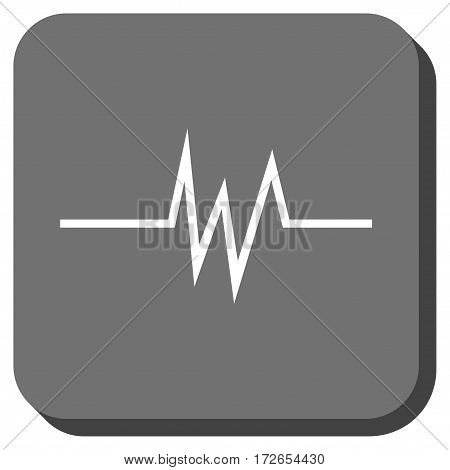 Pulse Signal toolbar button. Vector pictogram style is a flat symbol on a rounded square button white and gray colors.