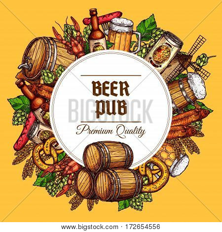 Beer pub vector poster of beer tancard and barrel, sausage barbecue and meat snacks, draught and lager beer can and bottle, oktoberfest pretzel and fish, seafood lobster or crab, hop and malt mill