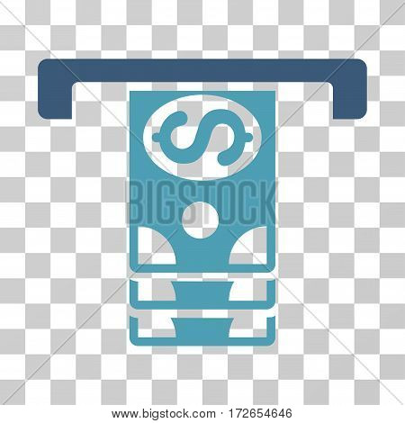 Banknotes Withdraw icon. Vector illustration style is flat iconic bicolor symbol cyan and blue colors transparent background. Designed for web and software interfaces.