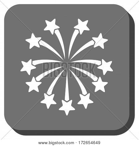 Spherical Fireworks square icon. Vector pictograph style is a flat symbol centered in a rounded square button white and gray colors.