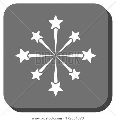 Star Burst Fireworks toolbar icon. Vector pictograph style is a flat symbol in a rounded square button white and gray colors.