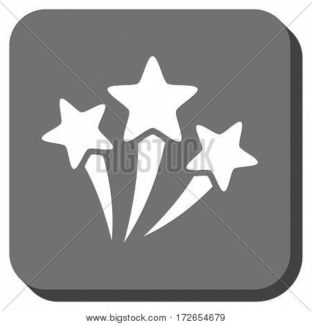 Star Fireworks square button. Vector pictogram style is a flat symbol inside a rounded square button white and gray colors.