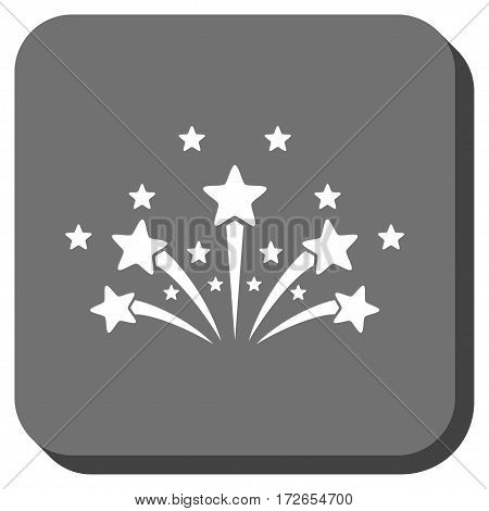 Star Fireworks square icon. Vector pictograph style is a flat symbol inside a rounded square button white and gray colors.