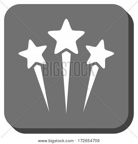 Star Salute rounded button. Vector pictograph style is a flat symbol centered in a rounded square button white and gray colors.