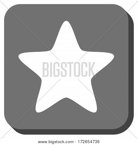 Star interface icon. Vector pictograph style is a flat symbol on a rounded square button white and gray colors.