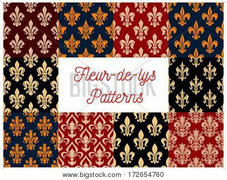Flowery royal fleur-de-lis patterns set of vector seamless floral ornament and french lily heraldic flower tracery. Luxury ornamental baroque motif backdrop and embellishment tiles design for interior poster