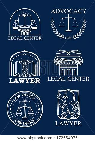 Legal icons for advocacy or lawyer of vector justice scales, heraldic laurel wreath and law code book, lion and column pillar symbols for advocate and justice attorney office, counsel and notary