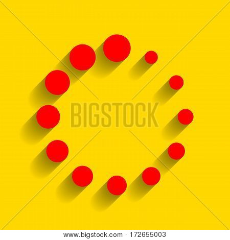 Circular loading sign. Vector. Red icon with soft shadow on golden background.
