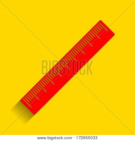 Centimeter ruler sign. Vector. Red icon with soft shadow on golden background.