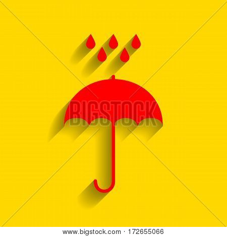 Umbrella with water drops. Rain protection symbol. Flat design style. Vector. Red icon with soft shadow on golden background.