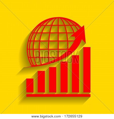 Growing graph with earth. Vector. Red icon with soft shadow on golden background.