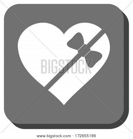 Tied Love Heart interface icon. Vector pictogram style is a flat symbol centered in a rounded square button white and gray colors.