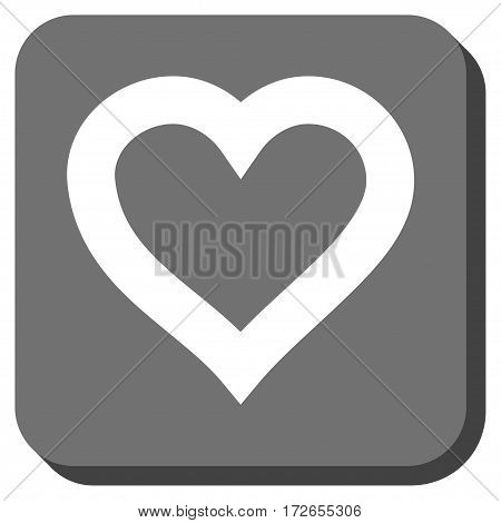 Valentine Heart interface button. Vector pictogram style is a flat symbol centered in a rounded square button white and gray colors.