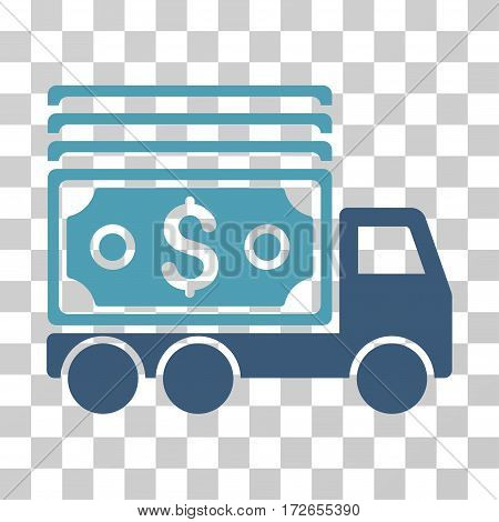 Cash Lorry icon. Vector illustration style is flat iconic bicolor symbol cyan and blue colors transparent background. Designed for web and software interfaces.