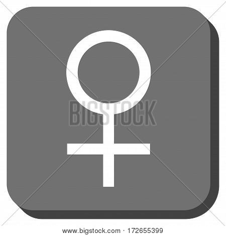 Venus Female Symbol interface button. Vector pictograph style is a flat symbol centered in a rounded square button white and gray colors.