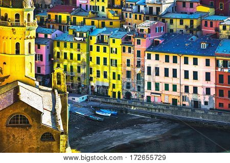 Vernazza village church and buildings aerial view. Seascape in Five lands Cinque Terre National Park Liguria Italy Europe. Long Exposure.