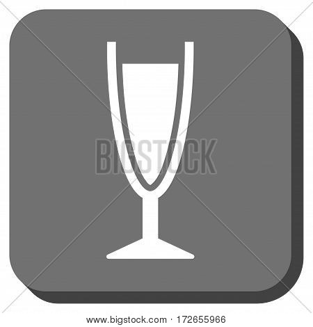 Wine Glass interface icon. Vector pictograph style is a flat symbol in a rounded square button white and gray colors.