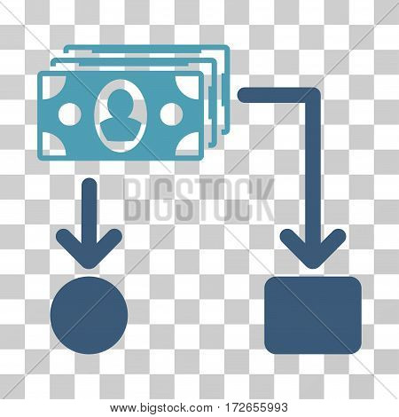 Cashflow icon. Vector illustration style is flat iconic bicolor symbol cyan and blue colors transparent background. Designed for web and software interfaces.