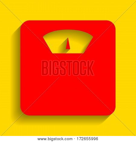 Bathroom scale sign. Vector. Red icon with soft shadow on golden background.