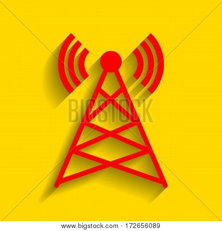 Antenna sign illustration. Vector. Red icon with soft shadow on golden background.