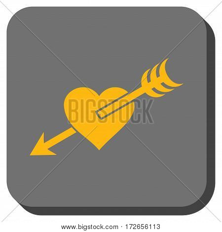 Arrow Heart interface button. Vector pictograph style is a flat symbol inside a rounded square button yellow and gray colors.