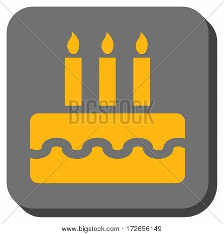 Birthday Cake rounded icon. Vector pictogram style is a flat symbol centered in a rounded square button yellow and gray colors.