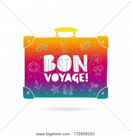 Rainbow bag with the inscription - Bon Voyage and summer icons. Trend lettering. Vector illustration on white background.
