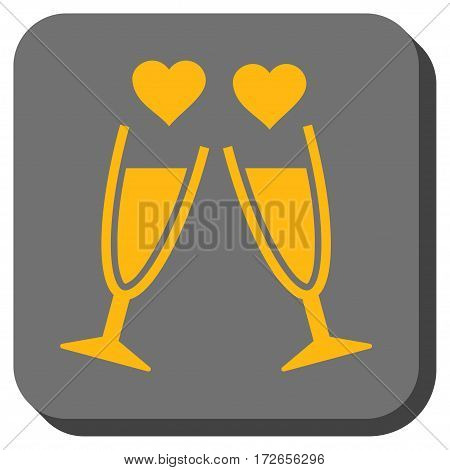 Clink Glasses interface button. Vector pictograph style is a flat symbol centered in a rounded square button yellow and gray colors.