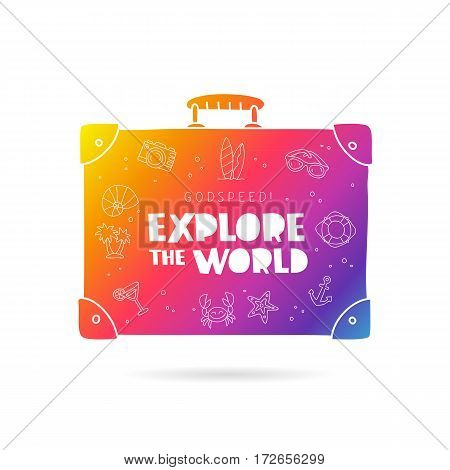 Rainbow suitcase with inscription - Godspeed! Explore the world and summer icons. Trend lettering. Vector illustration on white background.