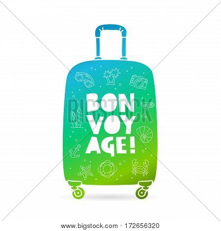 Big bag with the inscription - Bon Voyage and summer icons. Trend lettering. Vector illustration on white background.