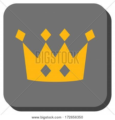 Crown square button. Vector pictogram style is a flat symbol inside a rounded square button yellow and gray colors.