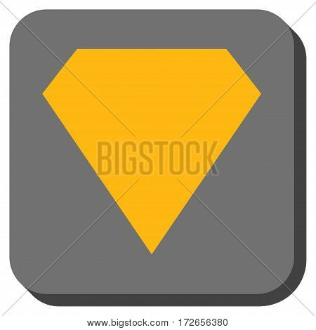 Diamond interface toolbar icon. Vector pictogram style is a flat symbol inside a rounded square button yellow and gray colors.