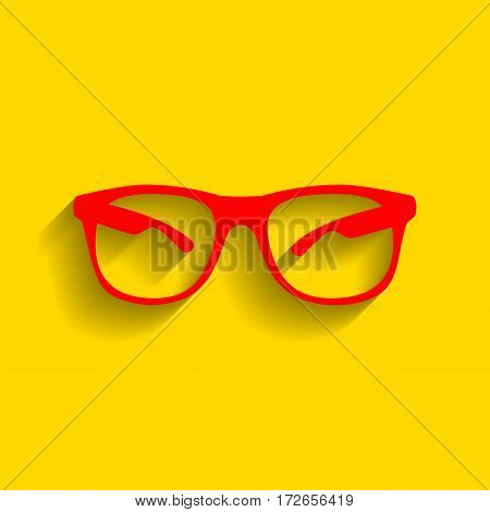 Sunglasses sign illustration. Vector. Red icon with soft shadow on golden background.