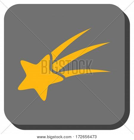 Falling Star interface button. Vector pictogram style is a flat symbol inside a rounded square button yellow and gray colors.