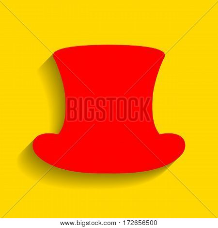 Top hat sign. Vector. Red icon with soft shadow on golden background.