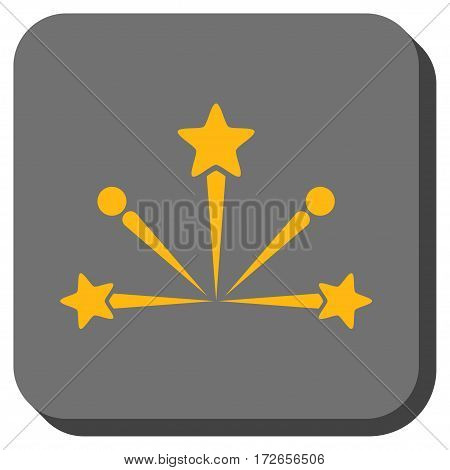 Fireworks Bang interface icon. Vector pictogram style is a flat symbol inside a rounded square button yellow and gray colors.